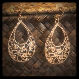 Rose Gold Dangle Earrings, Maurice, Costume